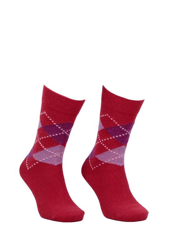 DÜNDAR - Dündar Dikişsiz Desenli Çorap 024   Kırmızı
