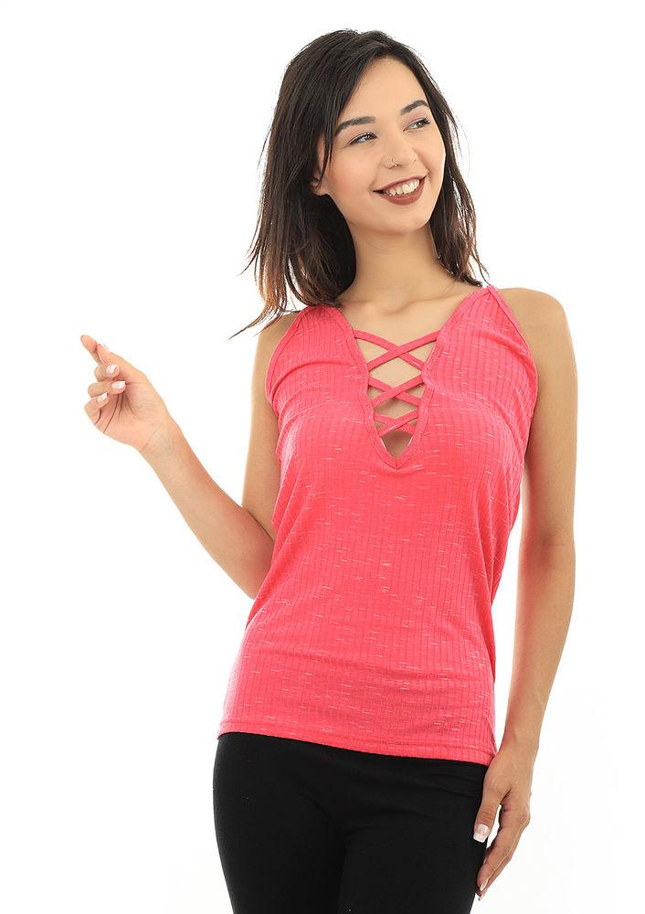 Kota İp Askılı Yakası Çapraz İpli T-shirt 6178 | Pembe