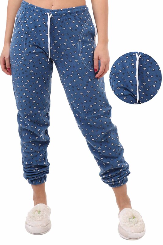 ARCAN - Arcan Kalp Desenli Polar Pijama Altı | Mavi