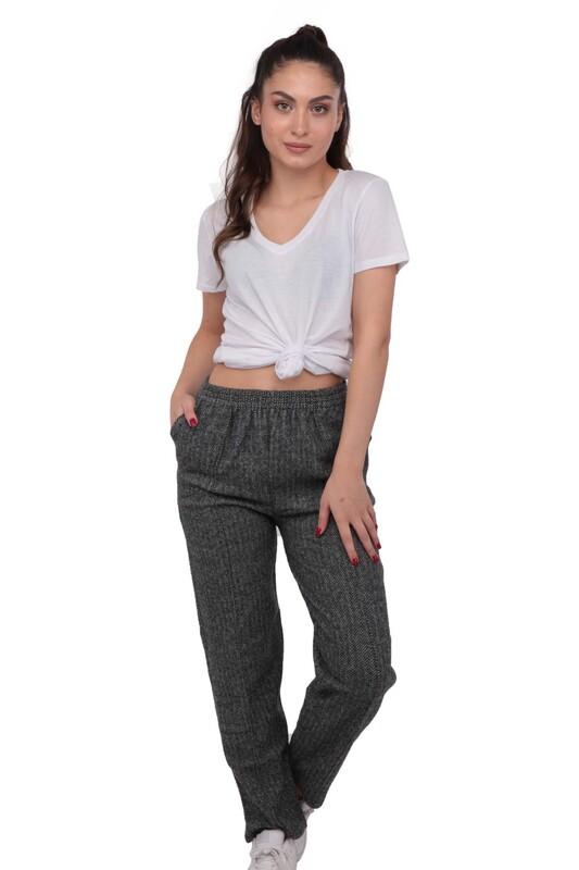 SİMİSSO - Simisso Boru Paçalı Beli Lastikli Pantolon 115 | Gri