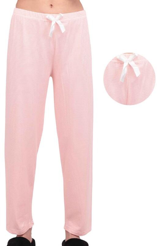 SİMİSSO - Çizgi Desenli Kadın Pijama Altı 9650 | Pudra
