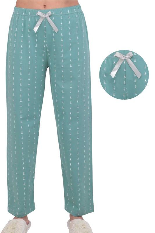 SİMİSSO - Desenli Kadın Pijama Altı | Yeşil