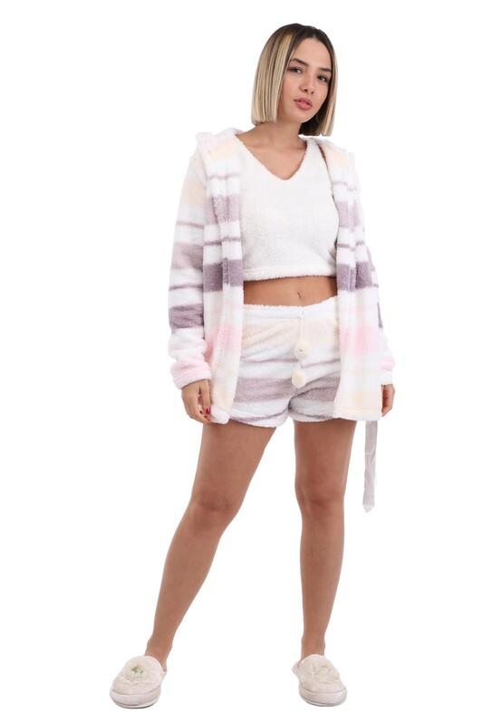 ARCAN - Arcan Sabahlıklı 3'lü Polar Pijama Takımı 1254-1 | Beyaz