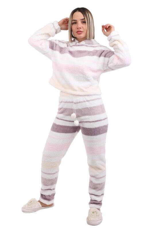 ARCAN - Arcan Çizgi Desenli Kapüşonlu Polar Pijama Takımı 1253-1 | Beyaz