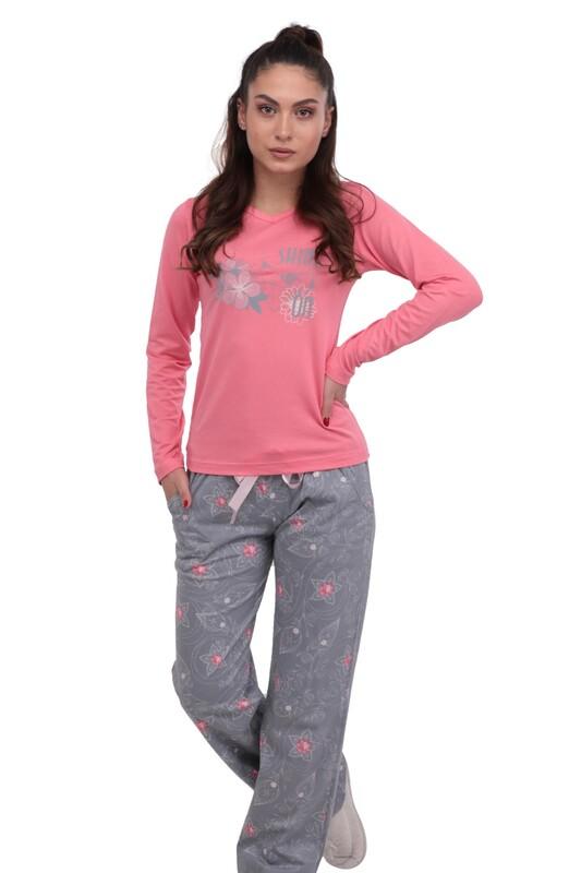 BERLAND - Berland Bol Paçalı Desenli Pijama Takımı 3003 | Pembe