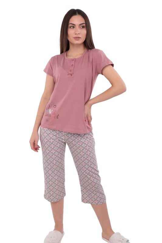 BOYRAZ - Boyraz Boru Paçalı Kaprili Kare Desenli Pijama Takımı 8409 | Bordo