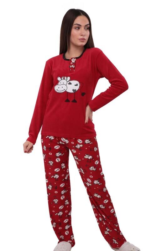 FAPİ - Fapi Boru Paçalı Desenli Kadife Pijama Takımı 3315 | Kırmızı