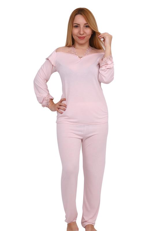 İMAJ - İmaj V Yaka Yakası Ve Kolları Güpürlü Pijama Takımı 120 | Pudra