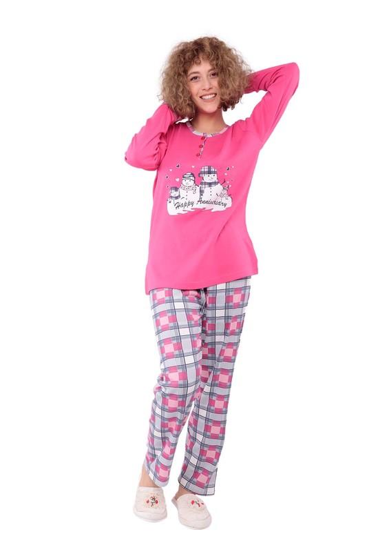 LİNDROS - Lindros Kare Desenli Baskılı Yırtmaçlı Pijama Takımı 7569   Fuşya