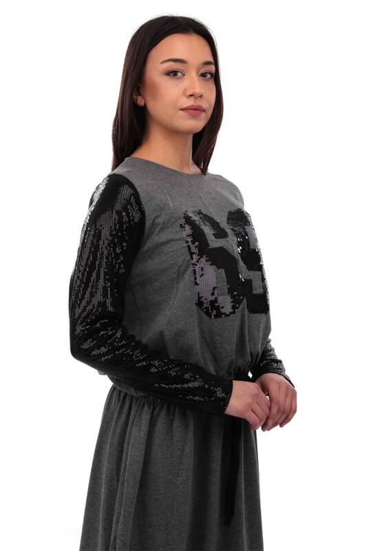 Beli Büzgülü ve Bağlamalı Kolları Pul Payetli Elbise 3753 | Gri - Thumbnail