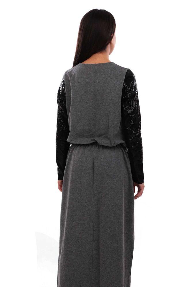 Beli Büzgülü ve Bağlamalı Kolları Pul Payetli Elbise 3753 | Gri