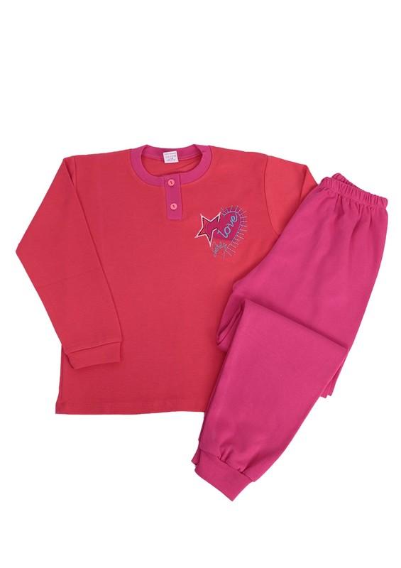 LOLLY DOLLY - Lolly Dolly Yıldız Nakışlı Çocuk Pijama Takımı 1811   Pembe