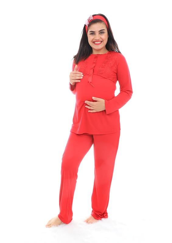 MECİT - Mecit Güpürlü Kolları Volanlı Hamile Pijama Takımı 1342 | Kırmızı