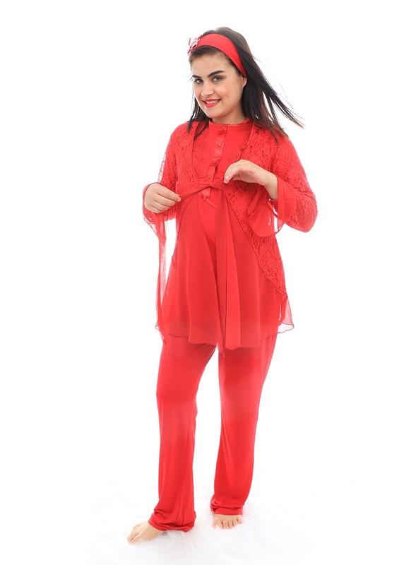 Mecit Güpürlü Kolları Volanlı Hamile Pijama Takımı 1342   Kırmızı - Thumbnail