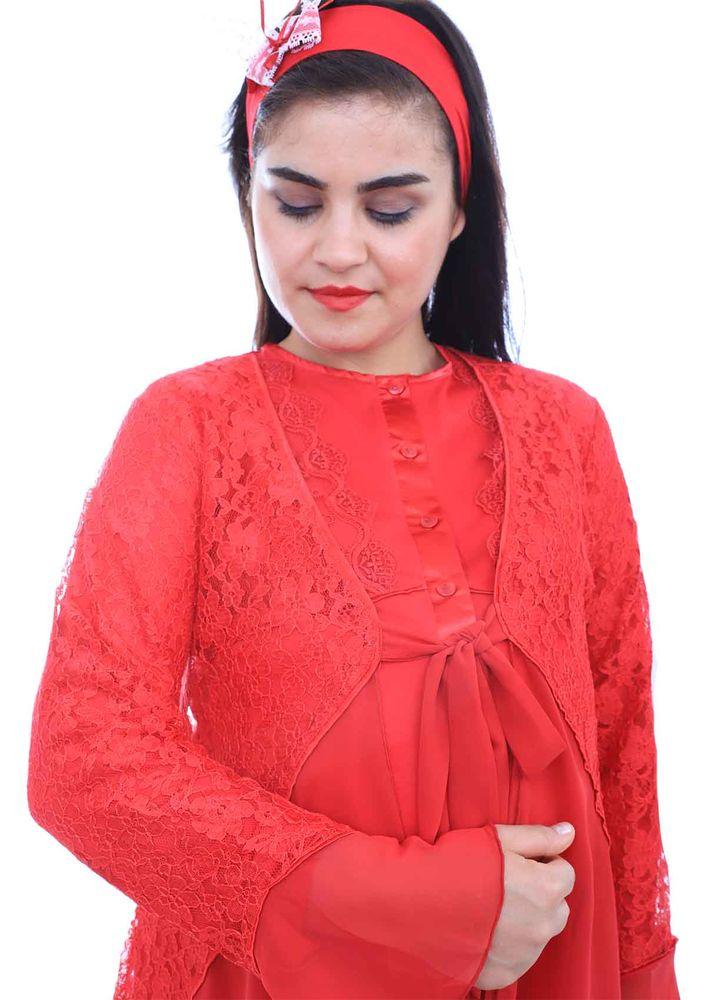 Mecit Güpürlü Kolları Volanlı Hamile Pijama Takımı 1342   Kırmızı