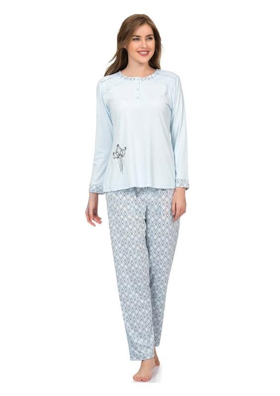 POLEREN - Poleren Düğmeli Desenli Büyük Beden Pijama Takımı 5954 | Mavi