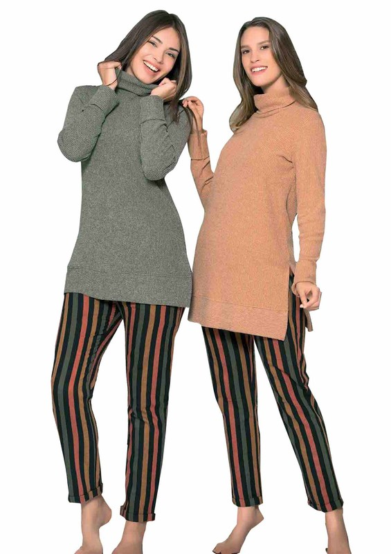POLEREN - Poleren Yanları Yırtmaçlı Boğazlı Pijama Takımı 6124 | Yeşil