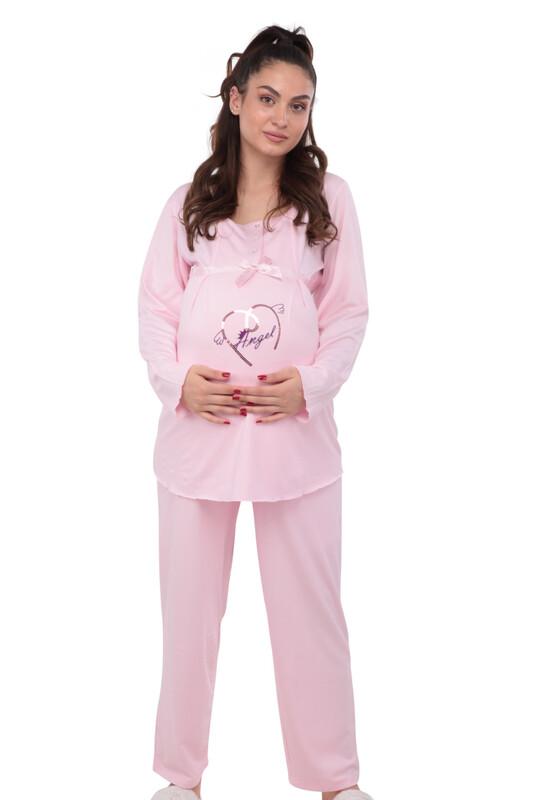 Berrak Kalpli Hamile Pijama Takımı 392 | Pembe - Thumbnail