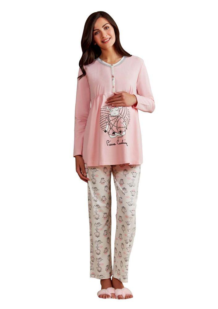 Pierre Cardin Kuzu Desenli Hamile Pijama Takımı PC7247 | Pembe