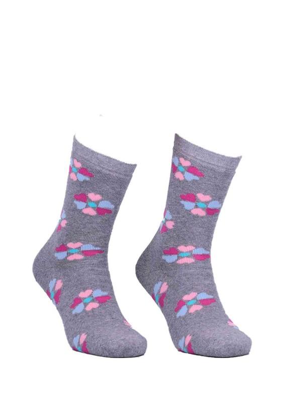 ADA - Ada Çiçekli Havlu Çorap 4203 | Gri