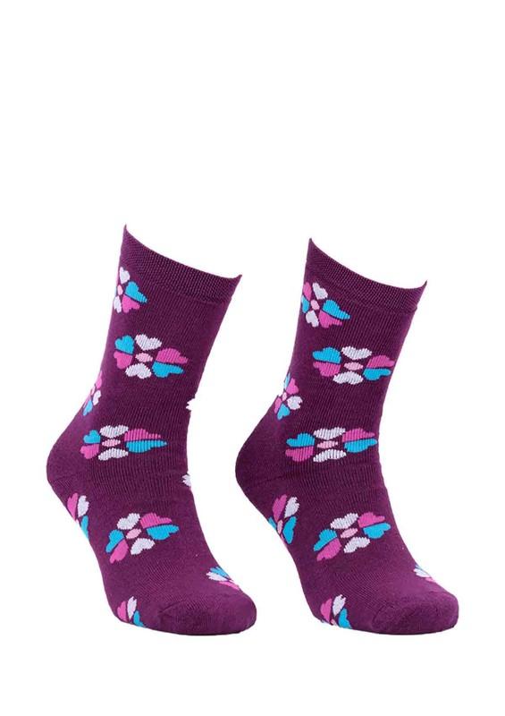 ADA - Ada Çiçekli Havlu Çorap 4203   Mor