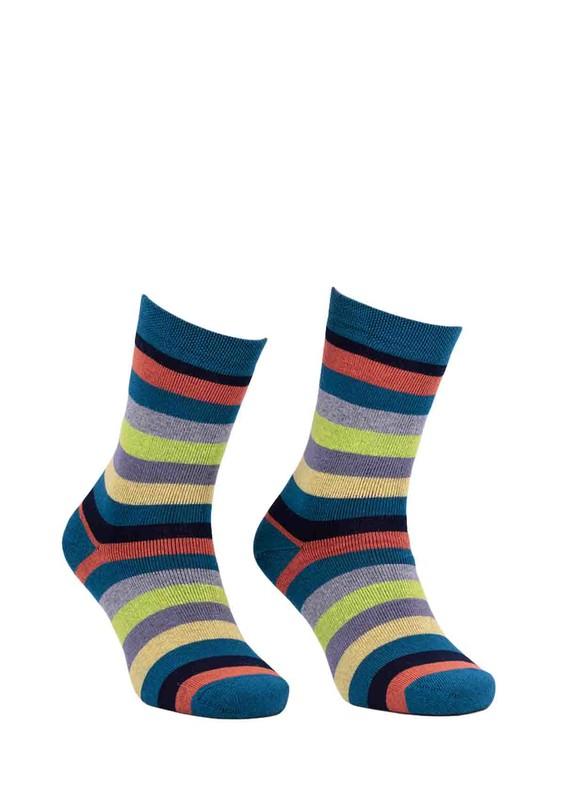 ADA - Ada Çizgili Renk Desenli Havlu Çorap 4122 | Petrol