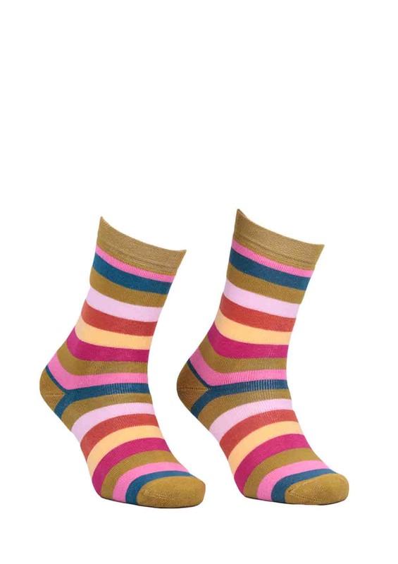 ADA - Ada Çizgili Renk Desenli Havlu Çorap 4122 | Yeşil
