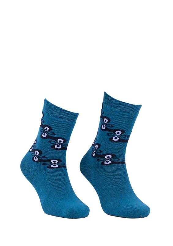 ADA - Ada Desenli Havlu Çorap 4199 | Petrol