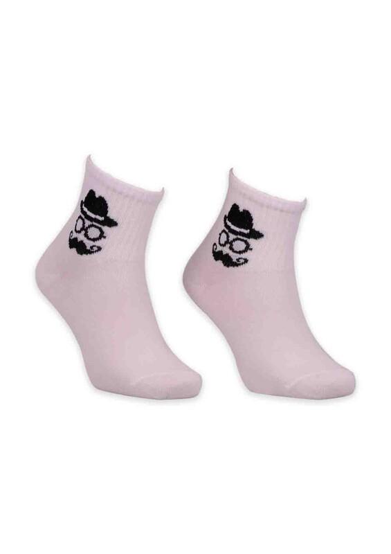 SİMİSSO - Adam Desenli Kadın Soket Çorabı | Beyaz