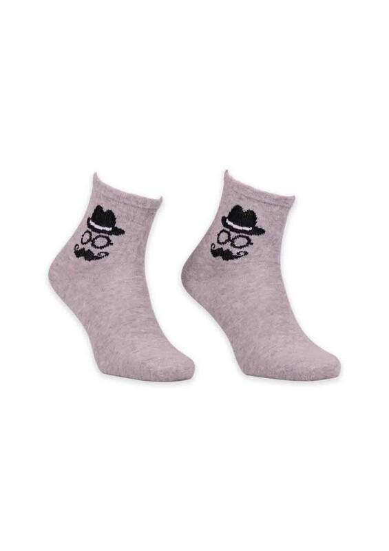 SİMİSSO - Adam Desenli Kadın Soket Çorabı | Gri