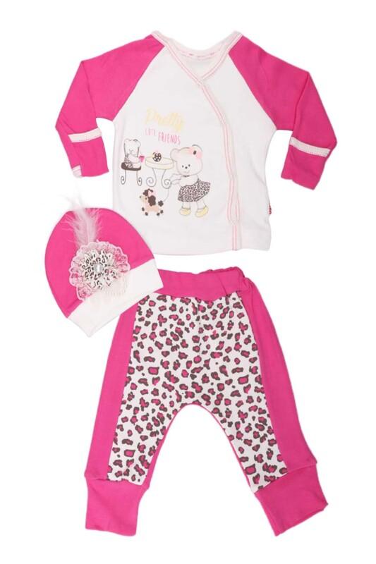 AGUCUKBABY - Agucuk Baby Leopar Desenli 3'lü Zıbın Seti 20126 | Fuşya