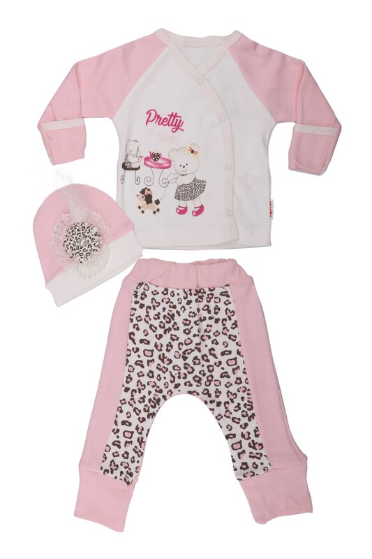 AGUCUKBABY - Agucuk Baby Leopar Desenli 3'lü Zıbın Seti 20126 | Pembe