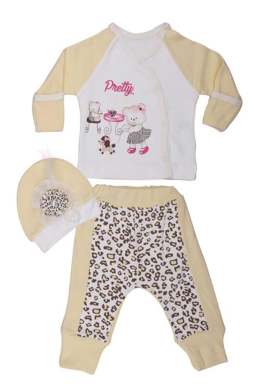 AGUCUKBABY - Agucuk Baby Leopar Desenli 3'lü Zıbın Seti 20126 | Sarı