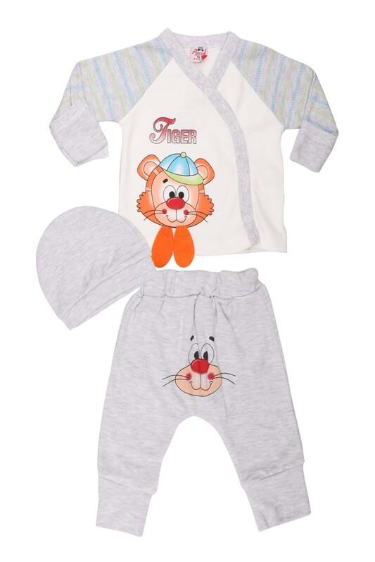 AGUCUKBABY - Agucuk Baby Şapkalı Tiger Desenli 3'lü Zıbın Takımı 20113 | Gri