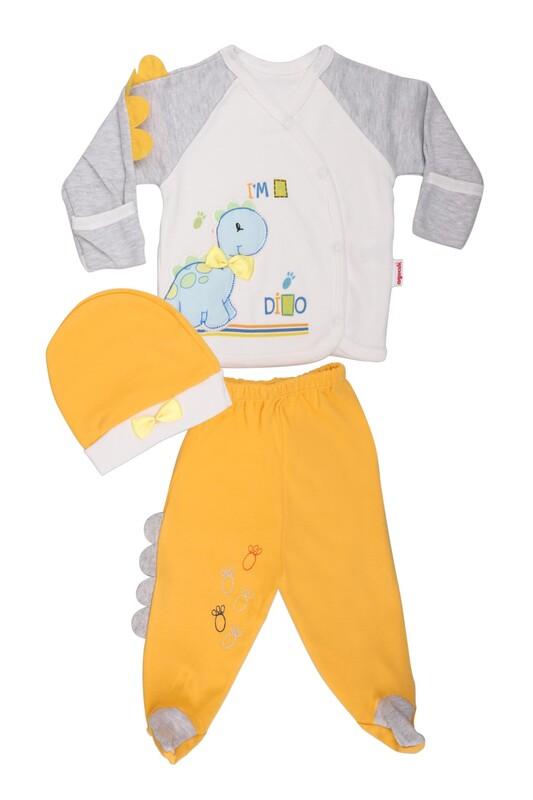 AGUCUKBABY - Agucuk Baby Şişme Dinazorlu 3'lü Zıbın Takımı 20105   Sarı