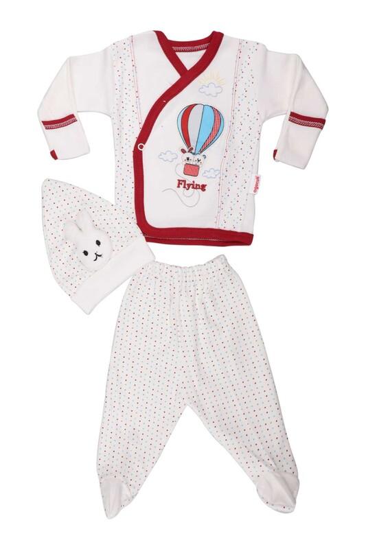 AGUCUKBABY - Agucuk Baby Uçan Balonlu Patikkli Zıbın Takımı 3'lü 1238 | Kırmızı