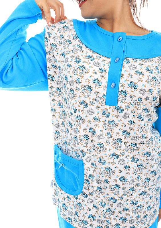 AKASYA - Akasya Bol Paçalı Düğmeli Cepli Desenli Pijama Takımı 463 | Mavi