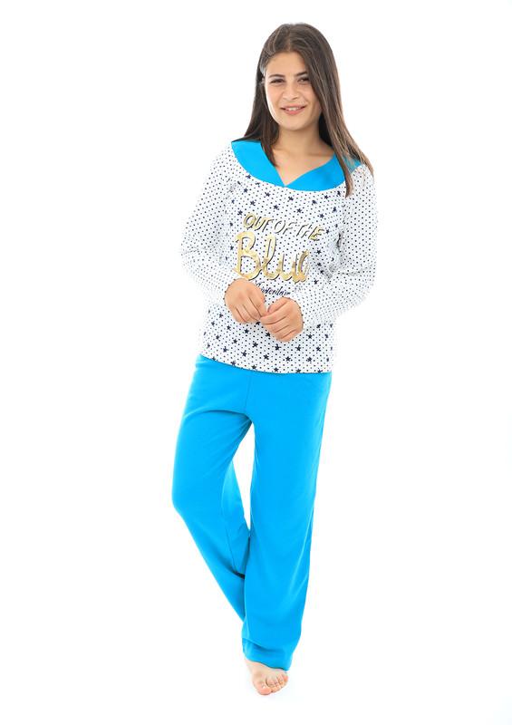 AKASYA - Akasya V Yakalı Desenli Uzun Kollu Pudra-Beyaz Pijama Takımı 559 | Petrol
