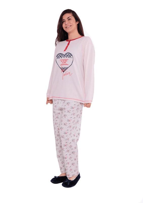 AKASYA - Akasya Yuvarlak Yakalı Uzun Kollu Desenli Pijama Takımı 1005 | Krem