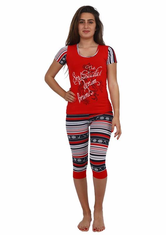 AKRON - Akron Kısa Kollu Dar Paça Kaprili Desenli Pijama Takımı 5081 | Kırmızı