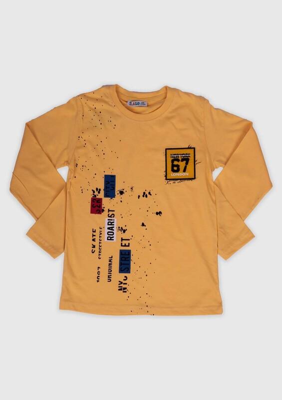 ALG - ALG Baskılı Uzun Kollu Erkek Çocuk Sweat 002 | Sarı