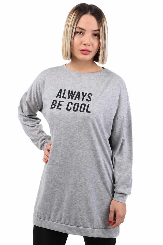 SİMİSSO - Always Baskılı Uzun Kollu Kadın T-shirt | Gri
