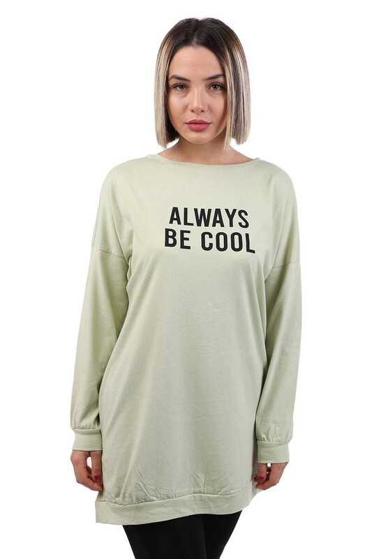 SİMİSSO - Always Baskılı Uzun Kollu Kadın T-shirt | Yeşil