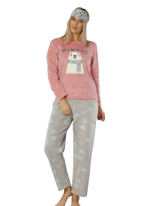 ARCAN - Arcan Ayıcık Desenli Polar Pijama Takımı 2311   Pembe