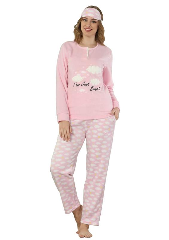 ARCAN - Arcan Bulut Desenli Polar Pijama Takımı 2217 | Pembe