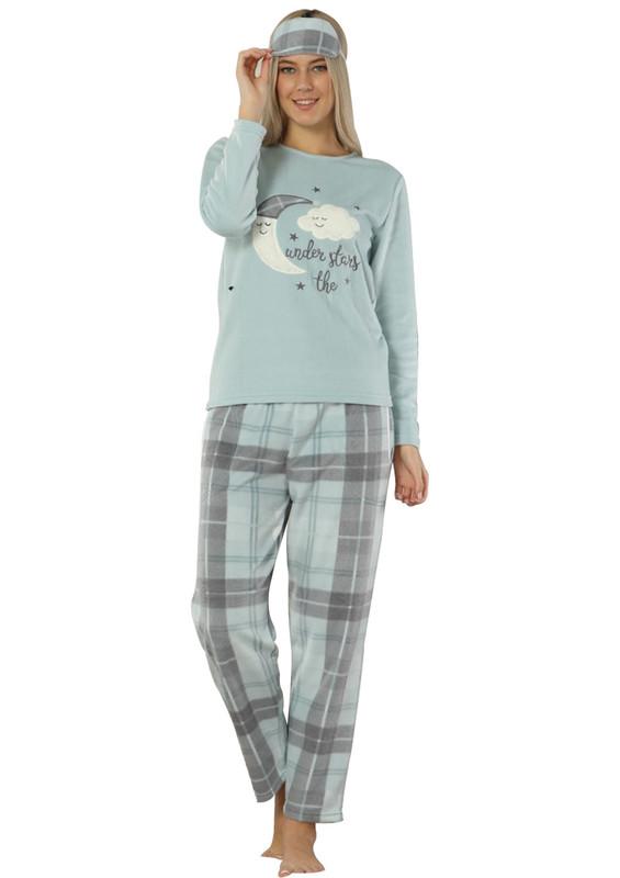 ARCAN - Arcan Ekose Desenli Polar Pijama Takımı 2316   Mavi
