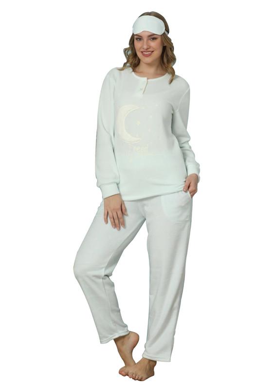 ARCAN - Arcan Hilal Desenli Polar Pijama Takımı 2304   Mavi