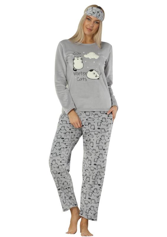 ARCAN - Arcan Kedi Desenli Polar Pijama Takımı 2315 | Gri