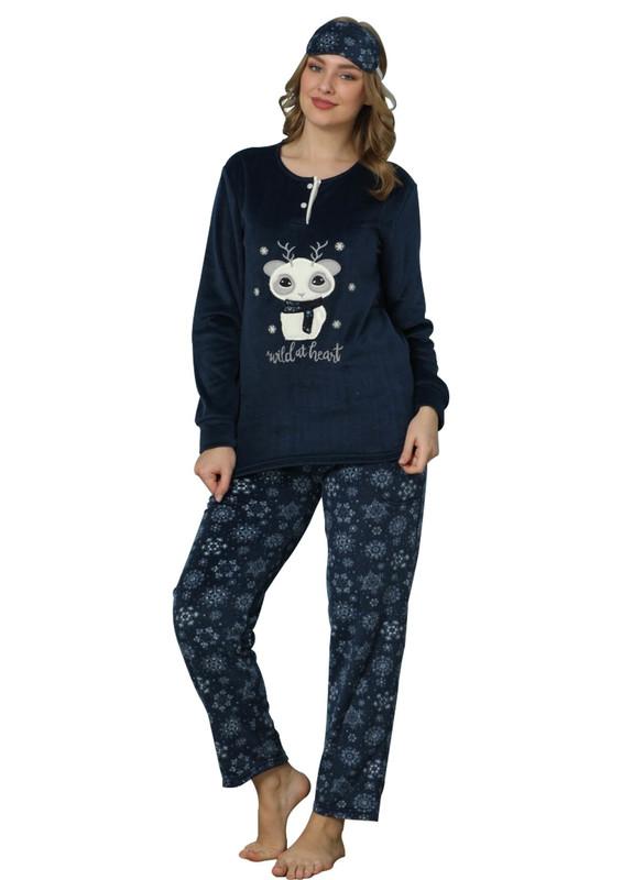ARCAN - Arcan Uyku Gözlüklü Polar Pijama Takımı 2215 | Lacivert