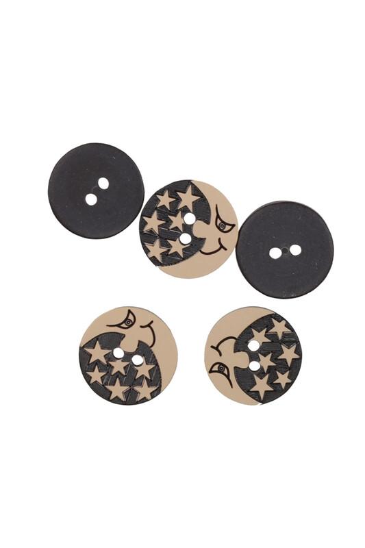 SİMİSSO - Ay Desenli Düğme 5 Adet